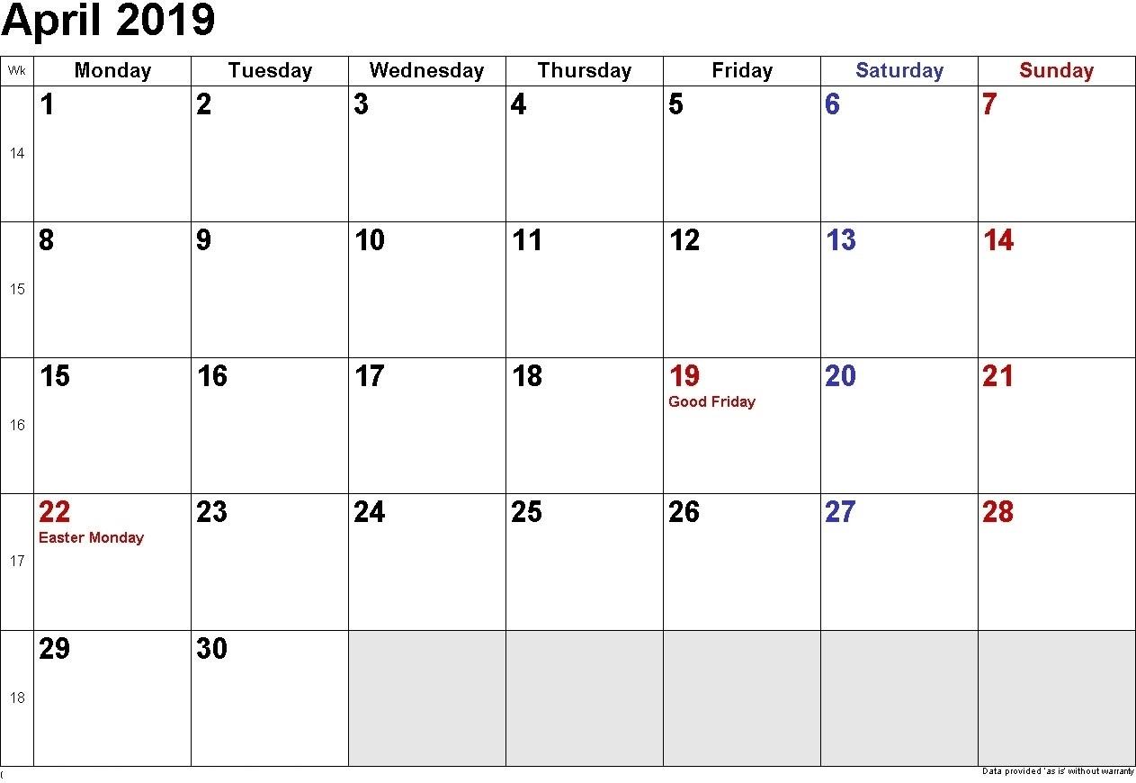 Printable April 2019 Calendar Blank