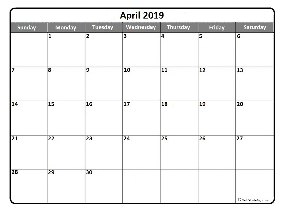 Printable April 2019 Calendar Word