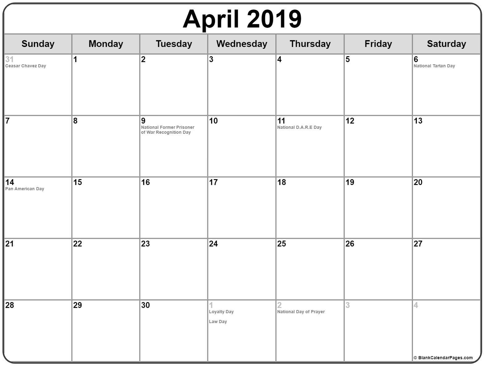 Printable April 2019 Calendar with Holidays