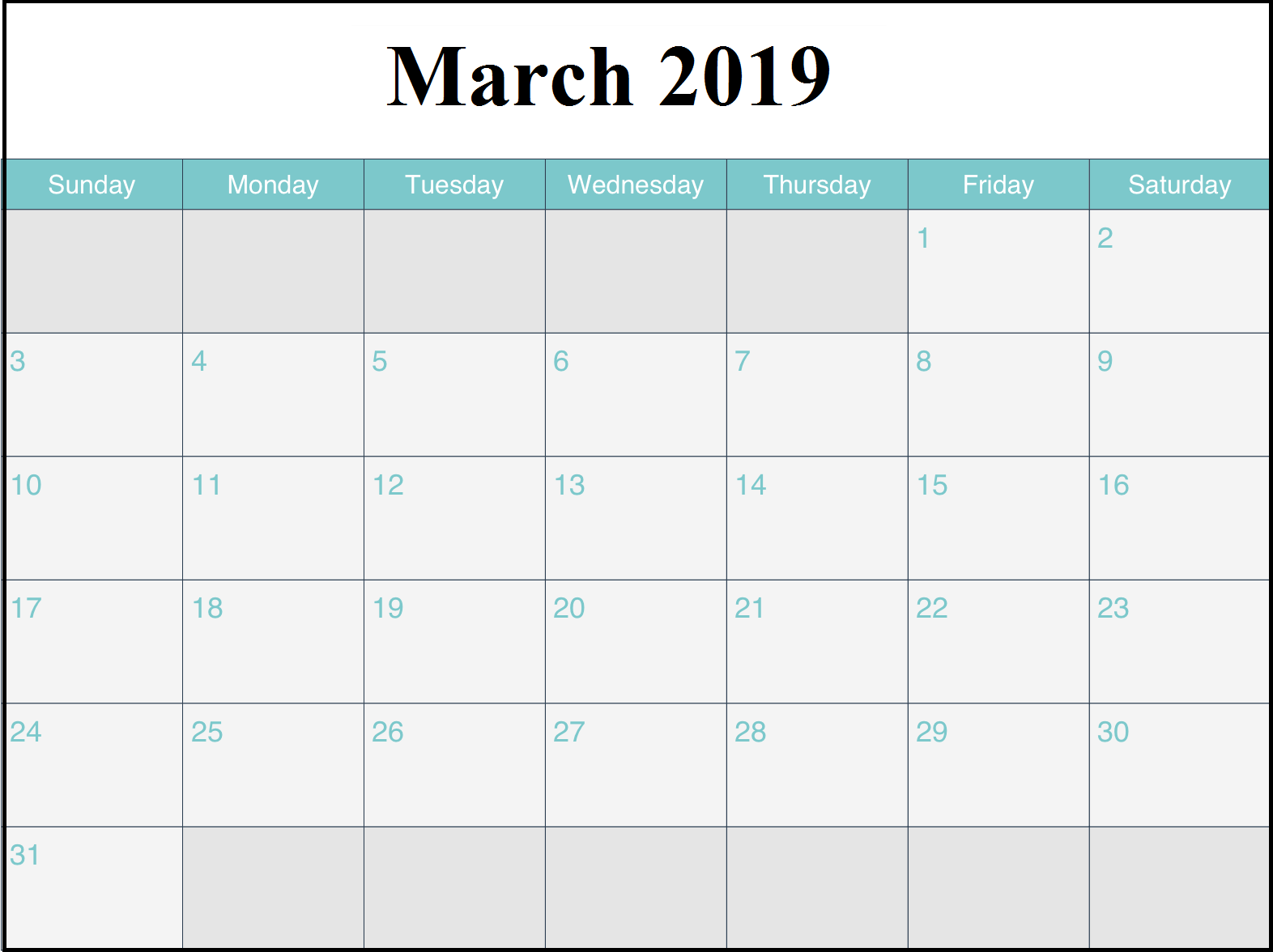Printable March 2019 Calendar Landscape