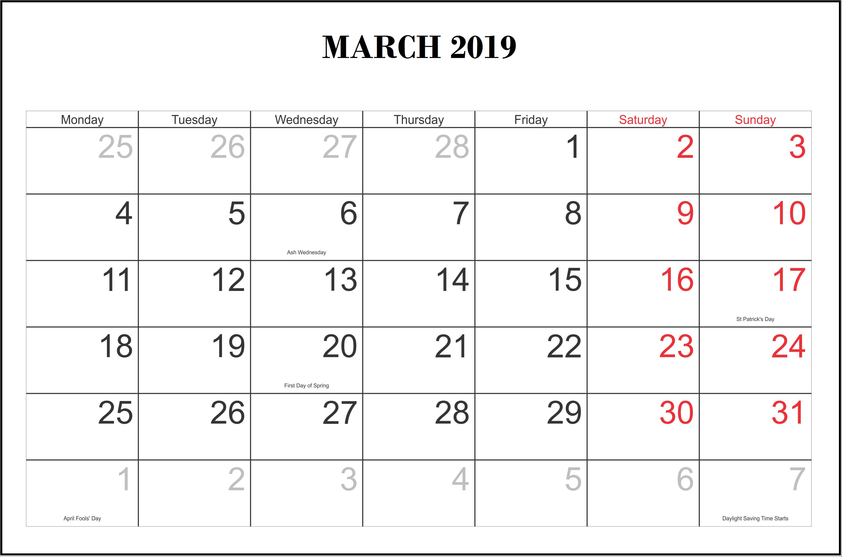 Printable March 2019 Calendar Template