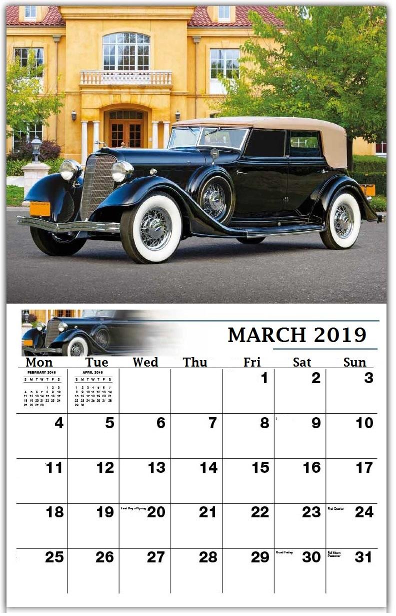 Vintage March 2019 Wall Calendar