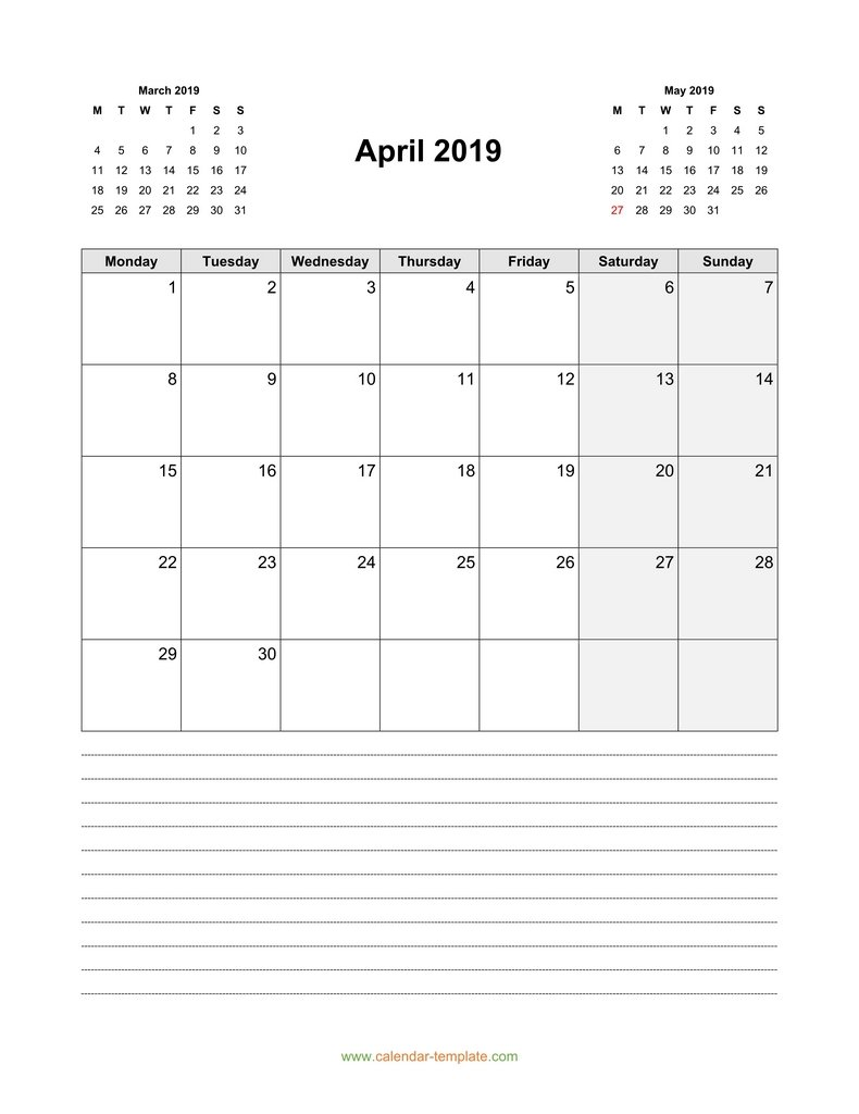 2019 April Calendar Vertical