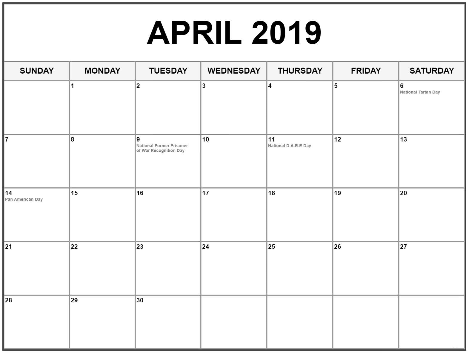 April 2019 Calendar Australia With Bank Holidays