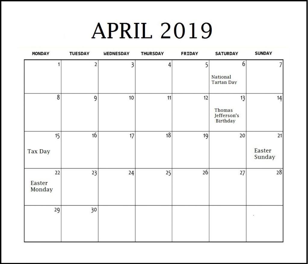 April 2019 Calendar Desk Holidays