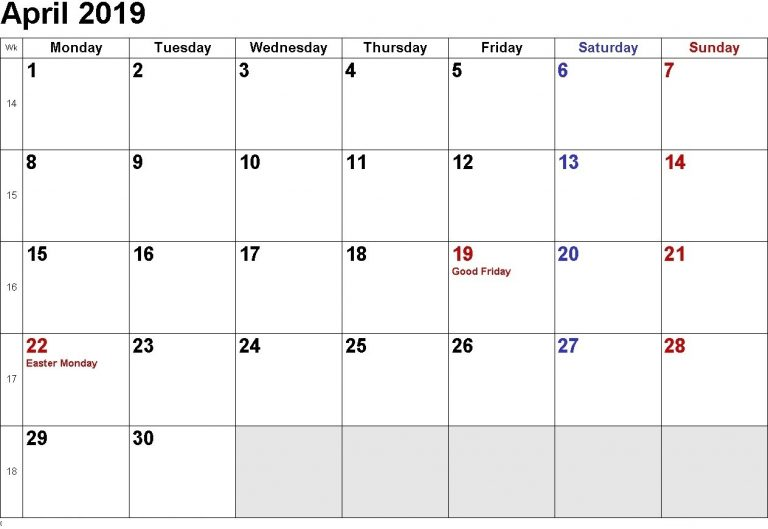 April 2019 Calendar Document With Holidays