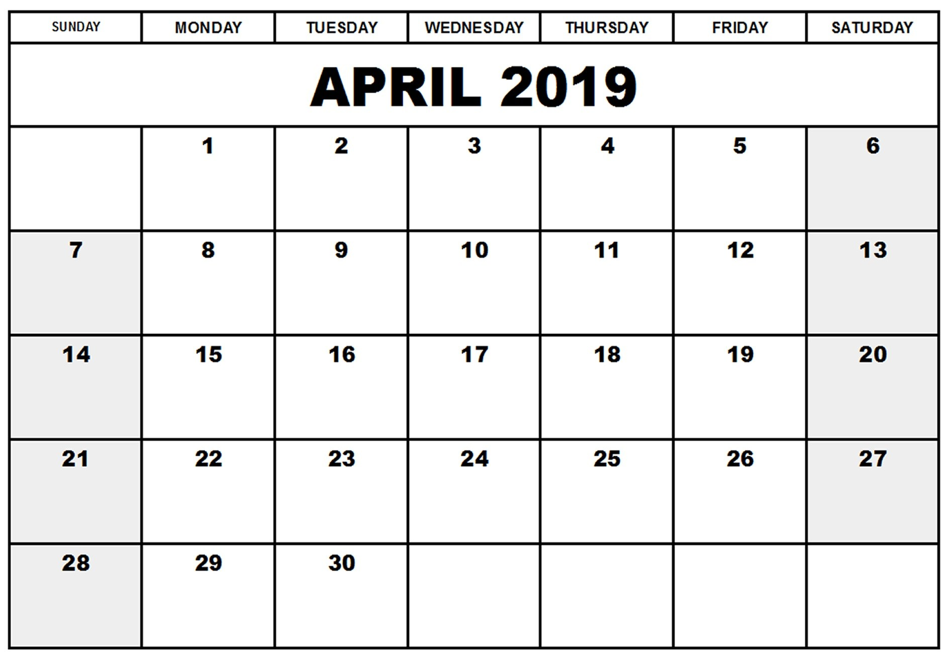 April 2019 Calendar Document