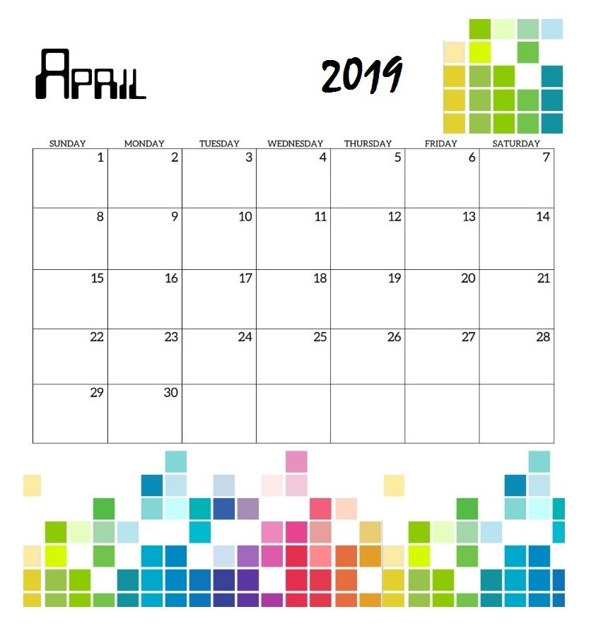 April 2019 Calendar For Wall