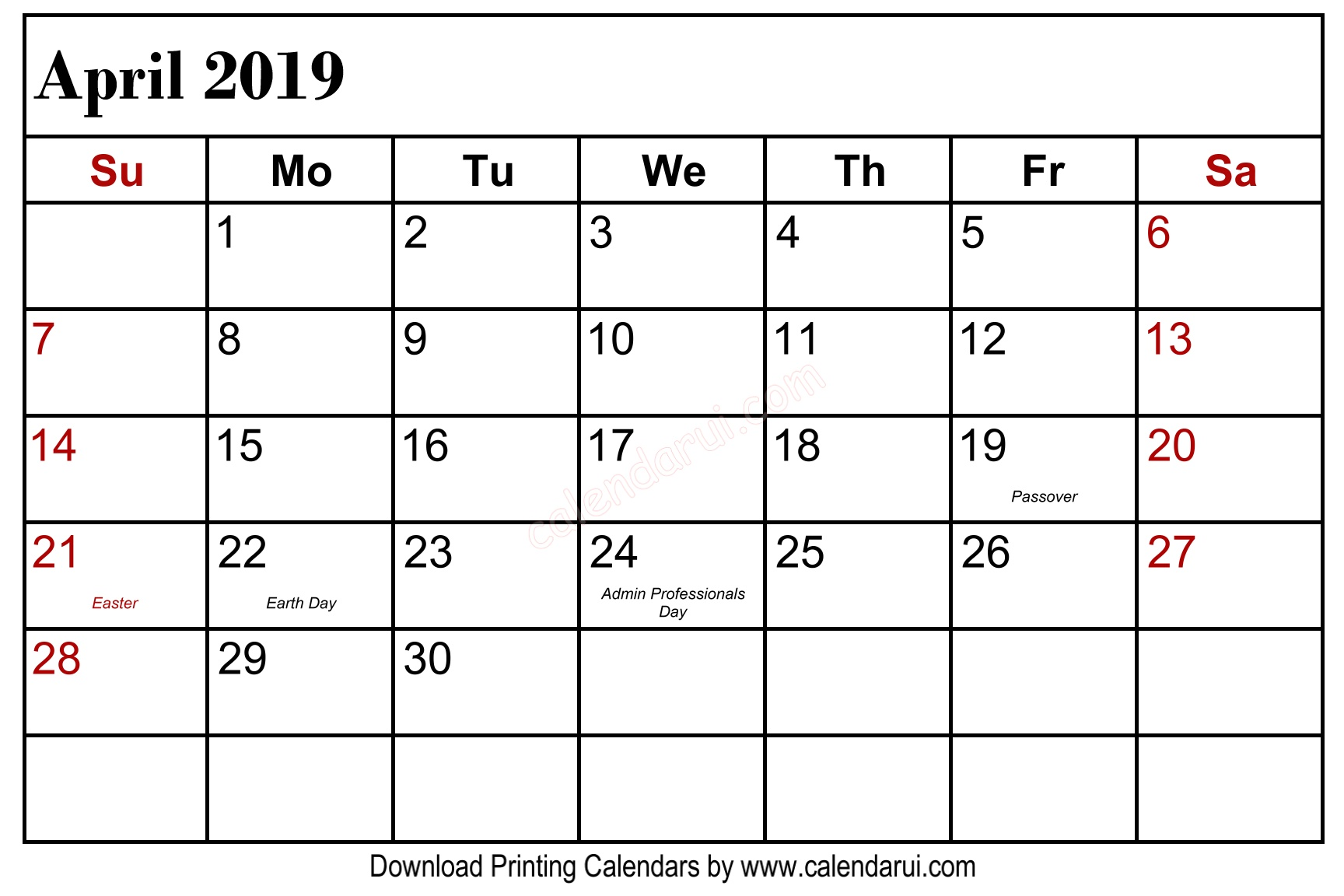 April 2019 Calendar Holidays USA Public Holidays