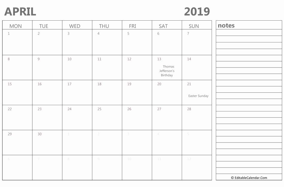 April 2019 Calendar Landscape With Note