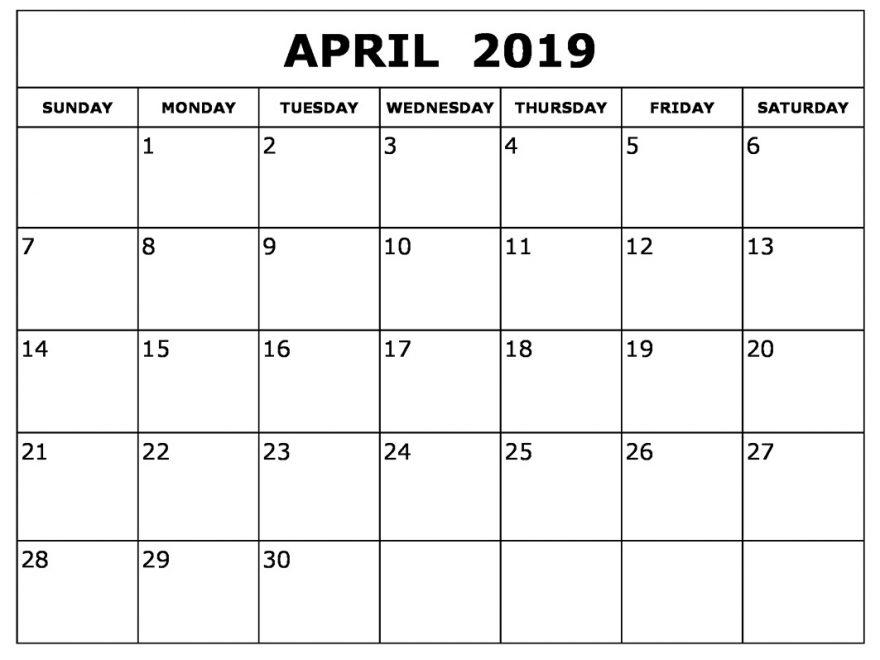 April 2019 Calendar Landscape