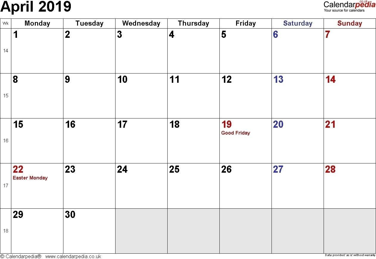 April 2019 Calendar Philippines