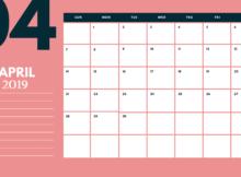 April 2019 Calendar Pink