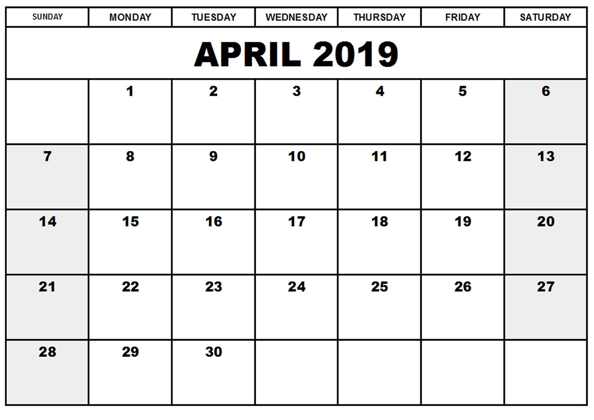 April 2019 Calendar Printable Blank Template