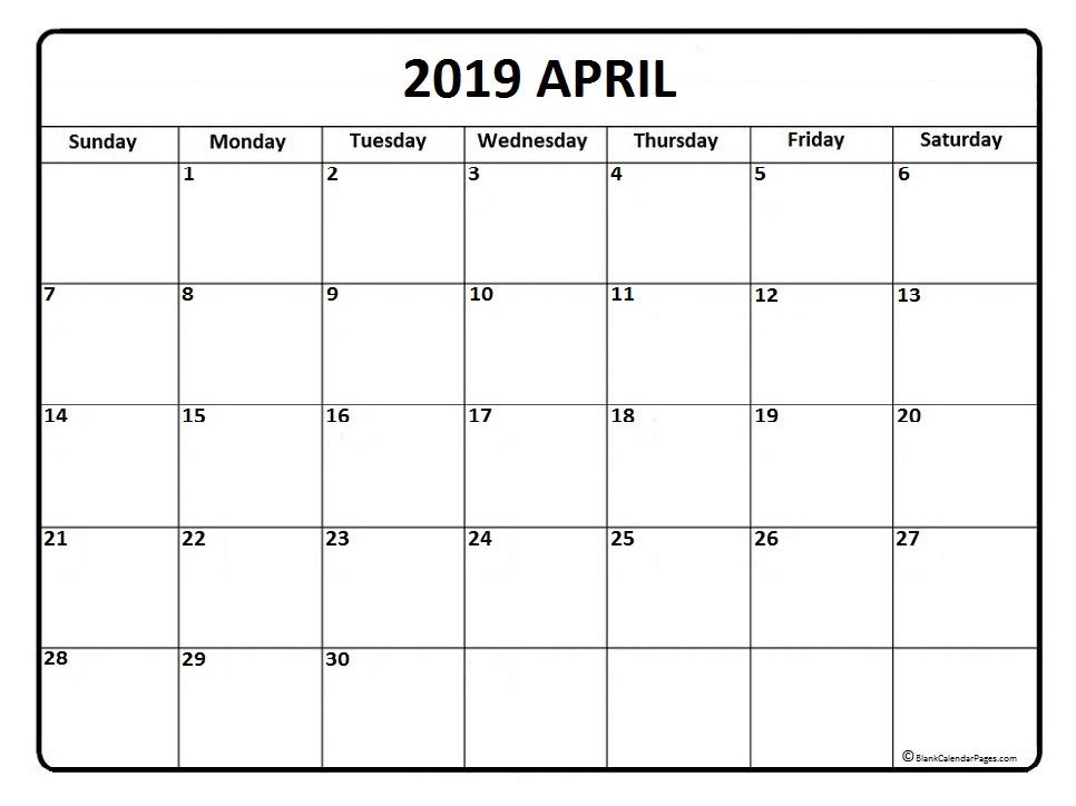 April 2019 Calendar Printable Template