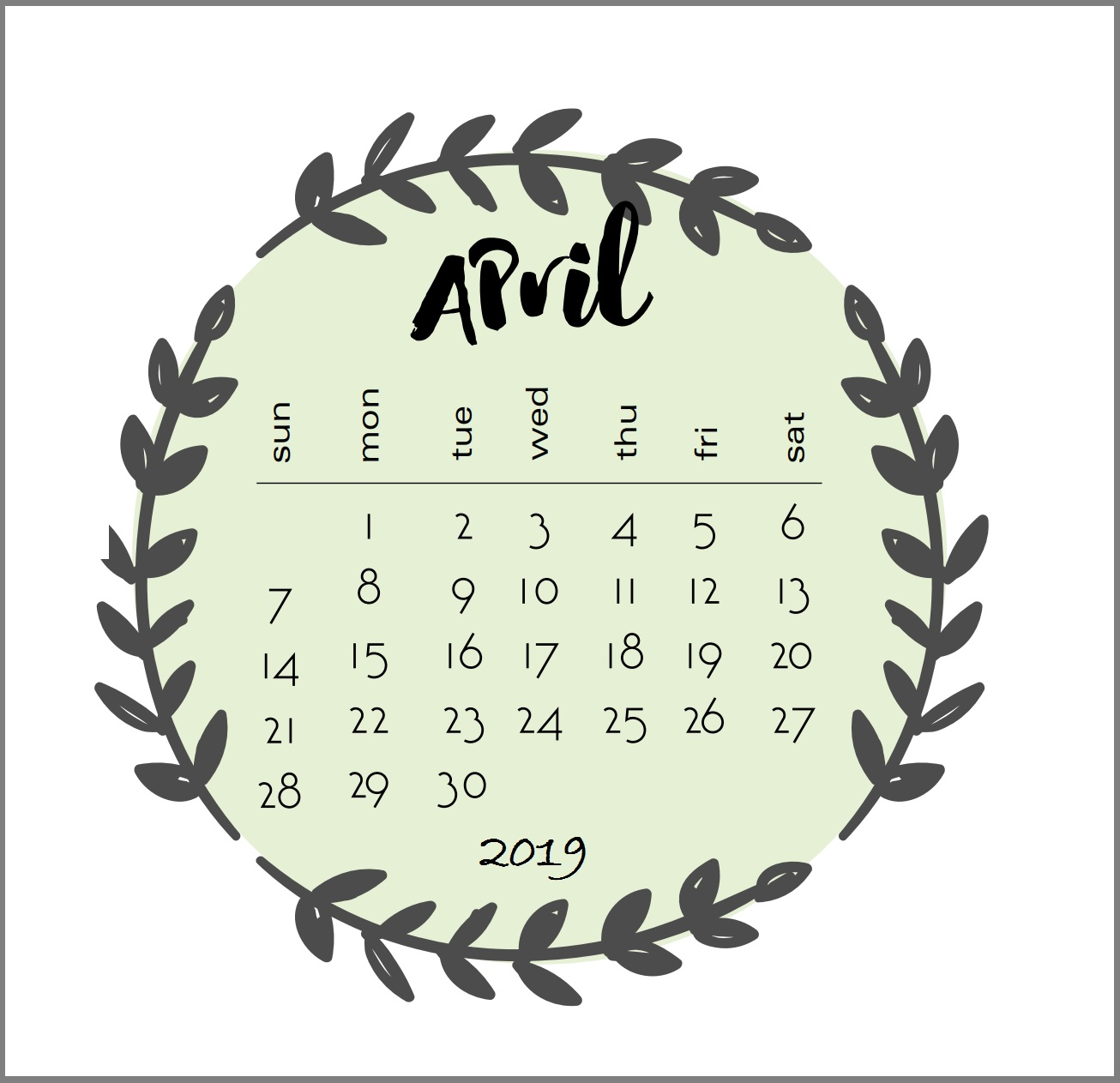 April 2019 Calendar Singapore Word