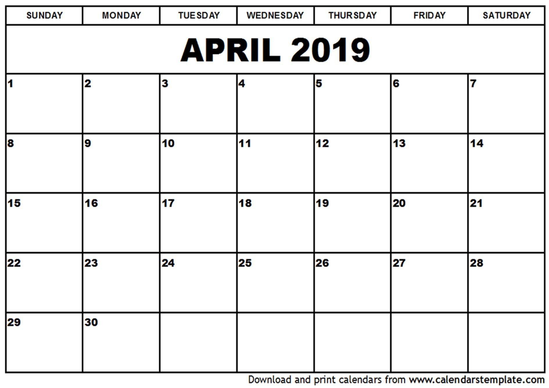 April 2019 Calendar Singapore