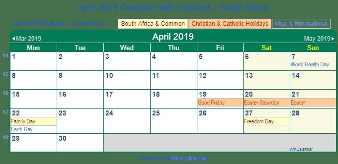 April 2019 Calendar South Africa