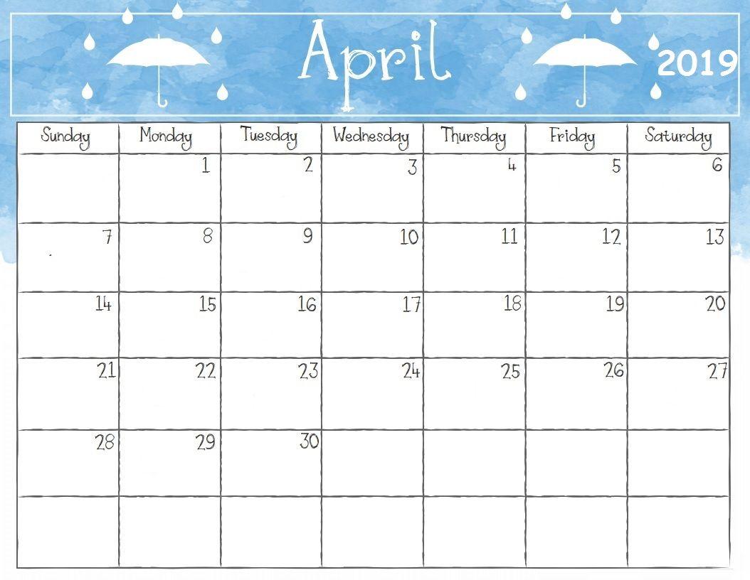 April 2019 Calendar Template Printable