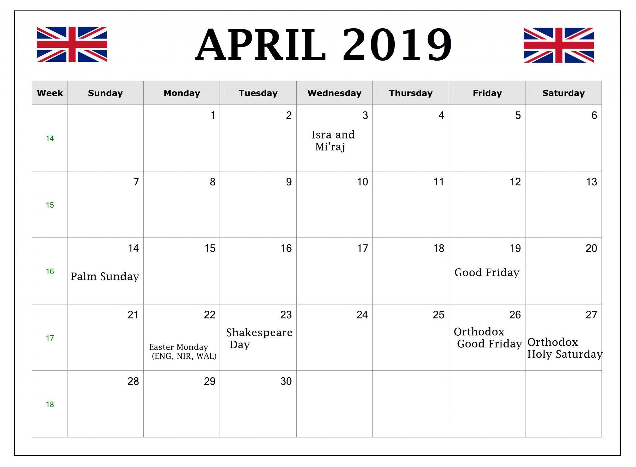 April 2019 Calendar UK With Holidays