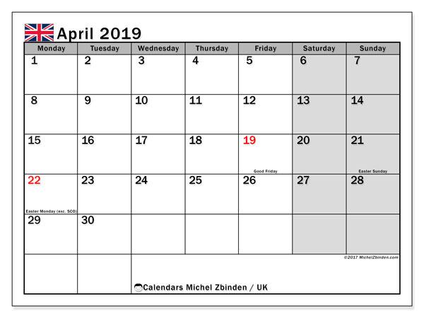 April 2019 Calendar UK