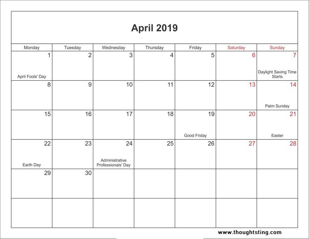 April 2019 Calendar USA with Holidays