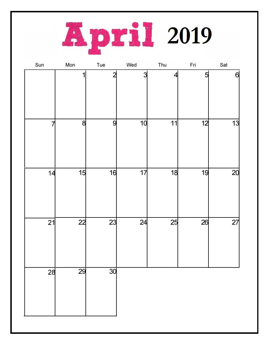 April 2019 Calendar Vertical