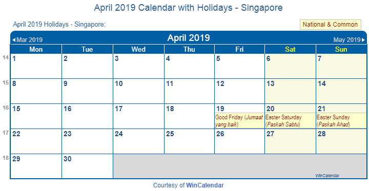 April 2019 Calendar With Holidays Singapore