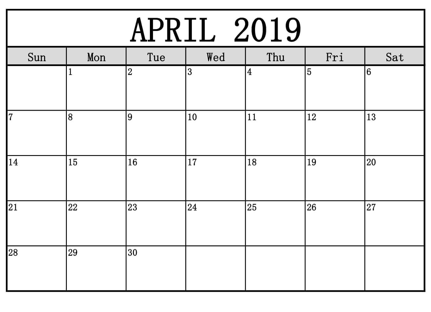 April 2019 Calendar Word Document