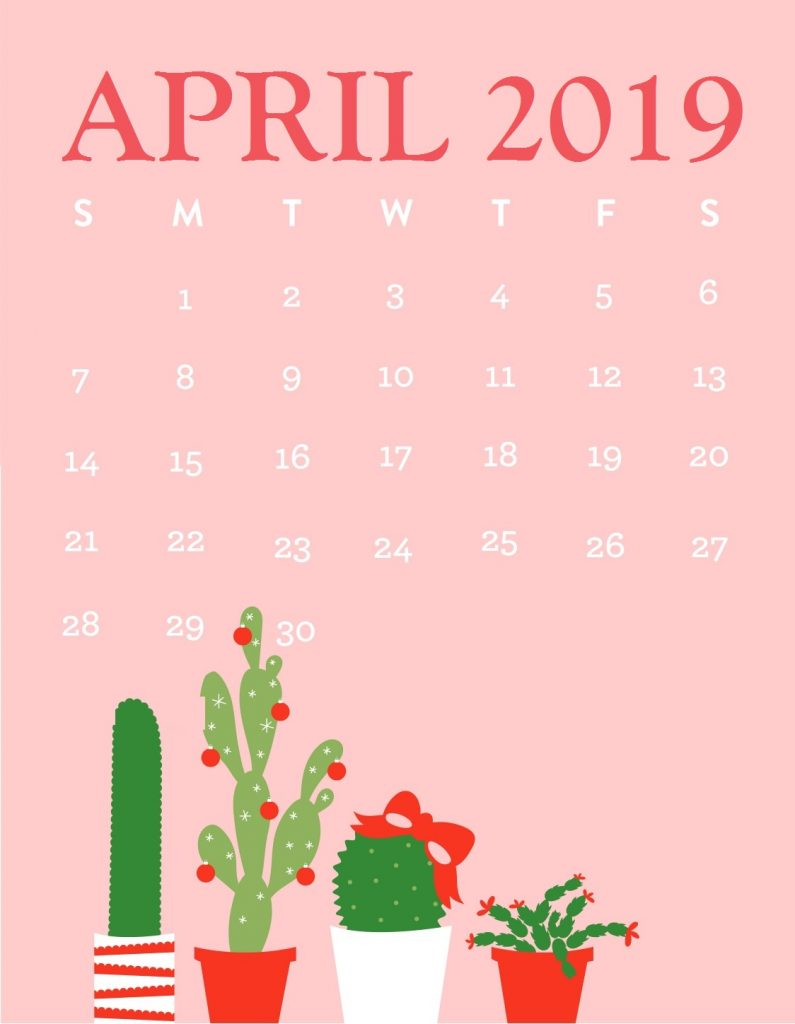 April 2019 Calendar iPhone Wallpaper
