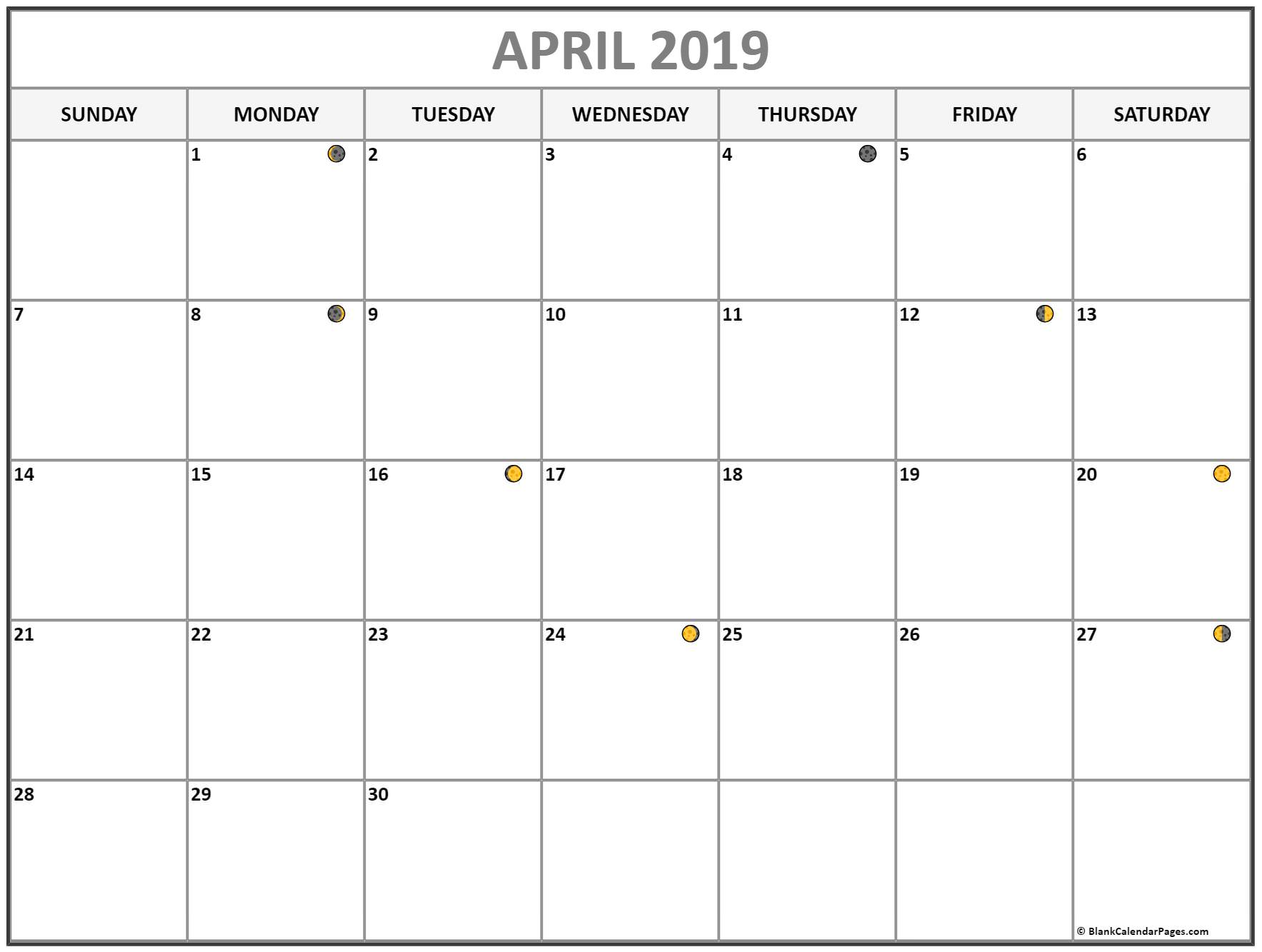 April 2019 Moon Phases Calendar