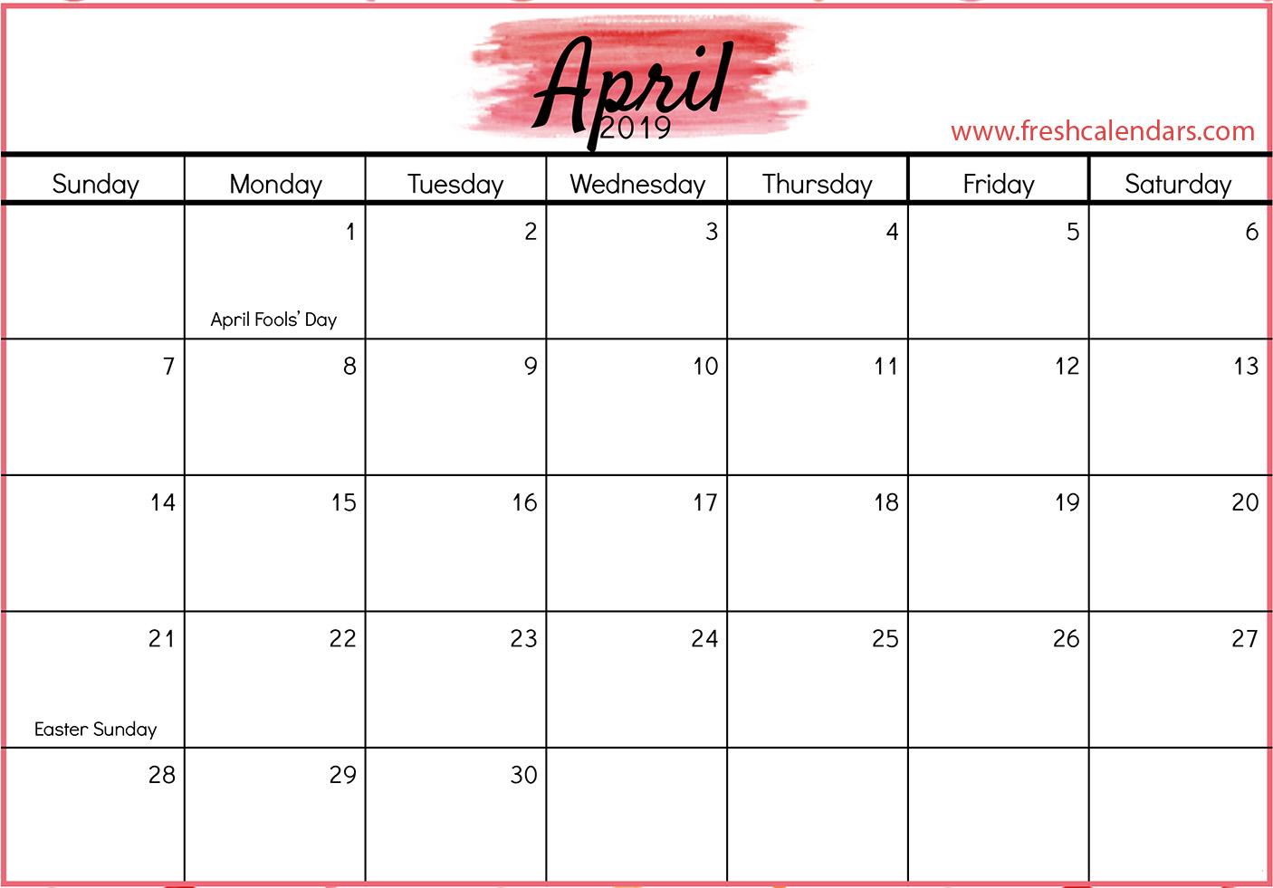 April 2019 Pink Calendar