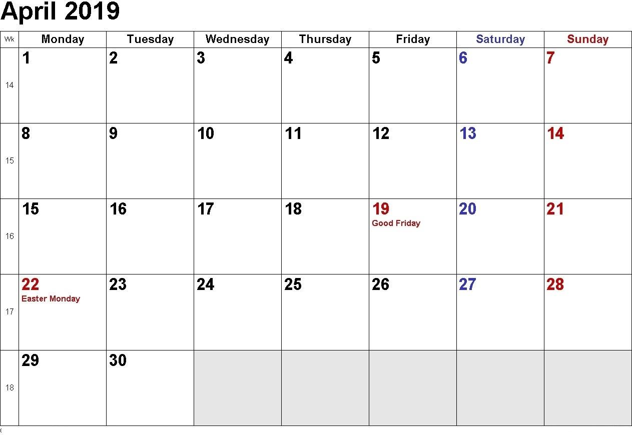 April 2019 Singapore Calendar