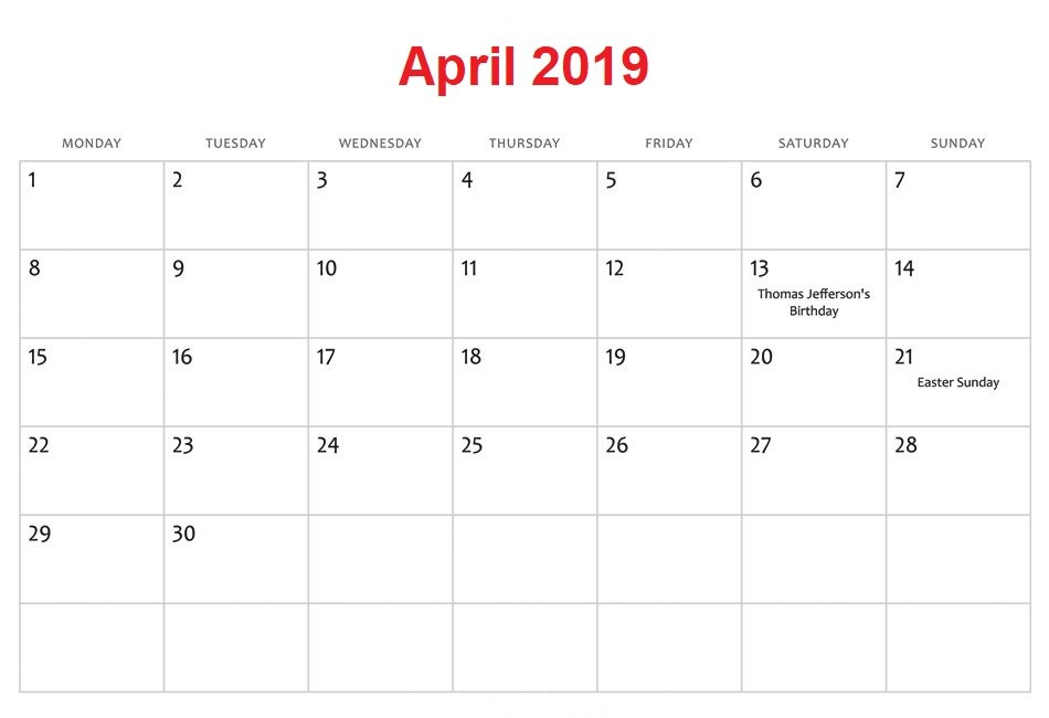 April 2019 South Africa Holidays Calendar