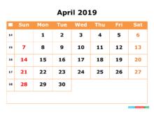 April 2019 Tumblr Calendar