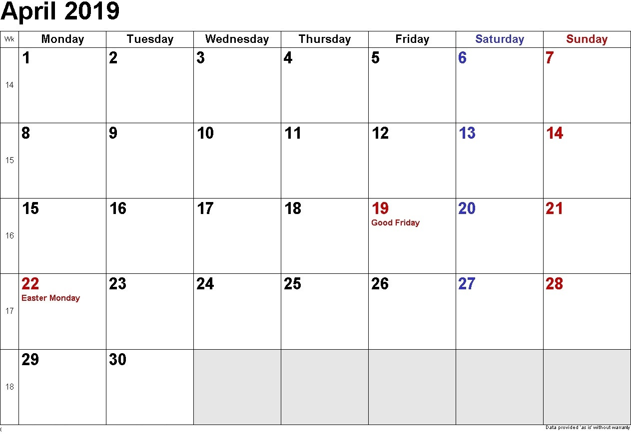 April 2019 USA Holidays Calendar