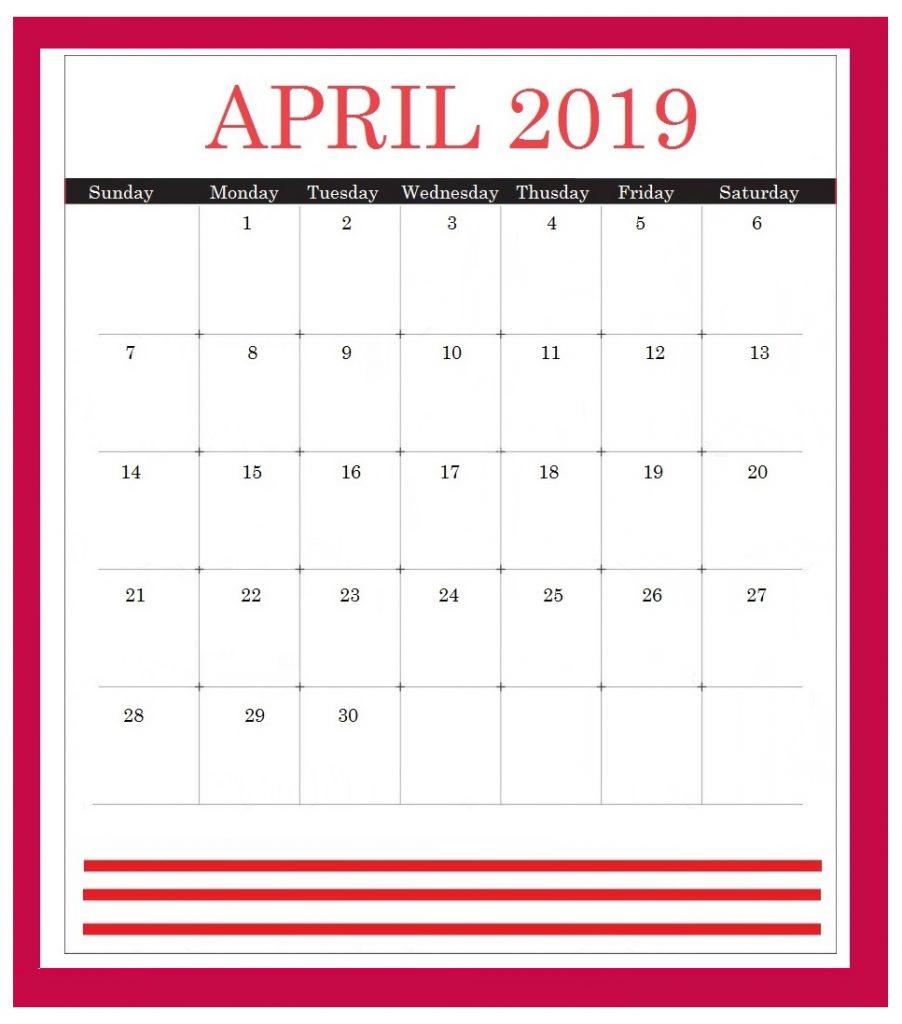 April 2019 Wall Calendar Printable