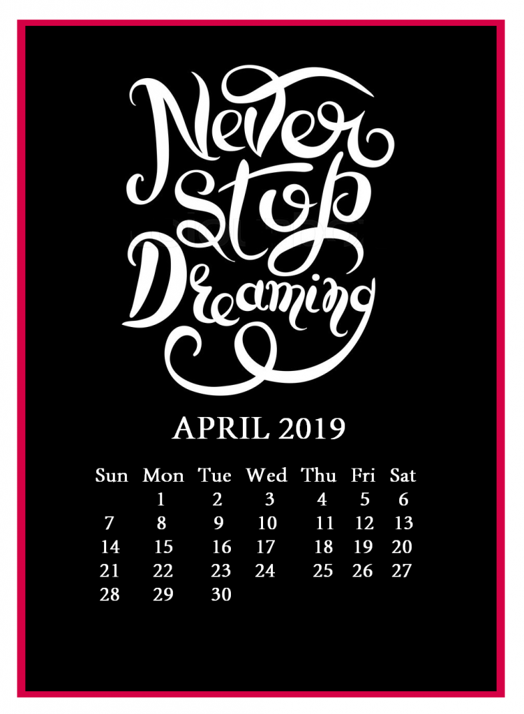 April 2019 Wall Calendar With Quotes