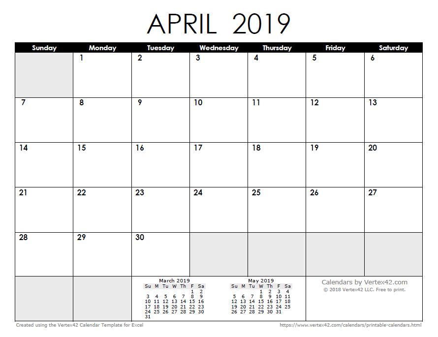 April Calendar 2019 Philippines