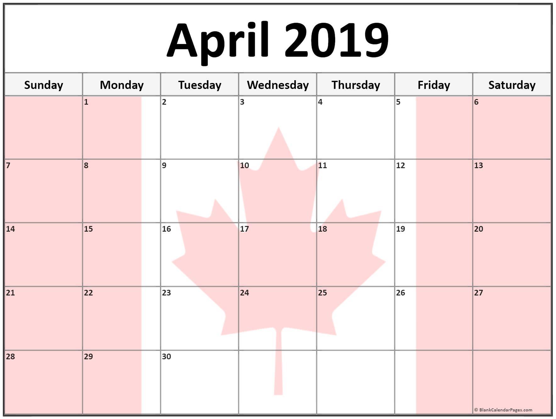 April Calendar 2019 Pink