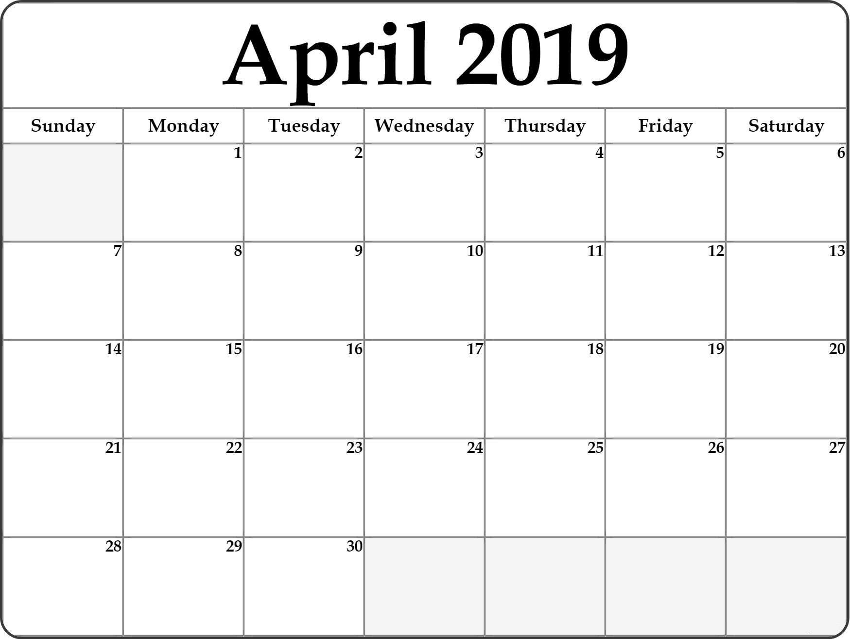 April Calendar 2019 Printable Template