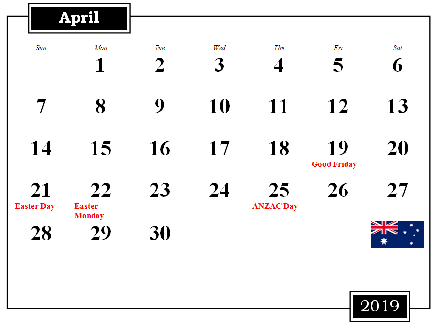 Australia Holidays Calendar April 2019