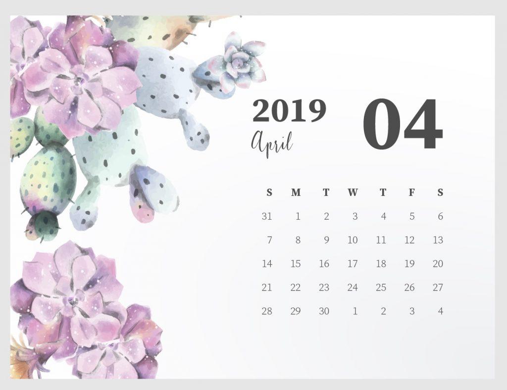 Beautiful April 2019 Desk Calendar