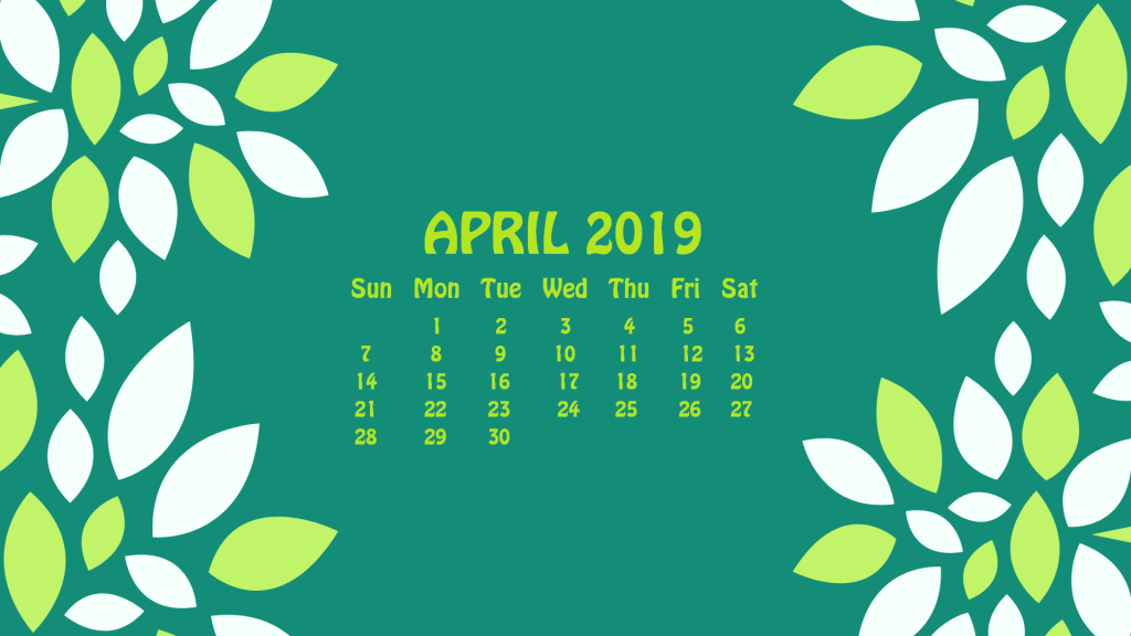 Beautiful April 2019 Desktop Calendar