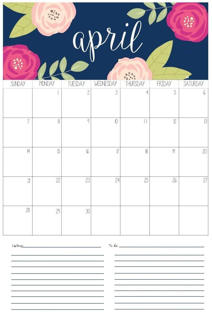 Beautiful April 2019 Wall Calendar