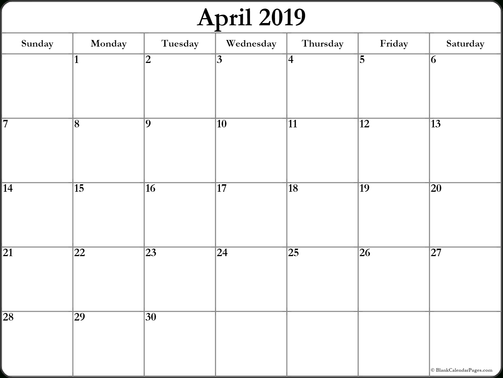 Blank April 2019 Calendar Document