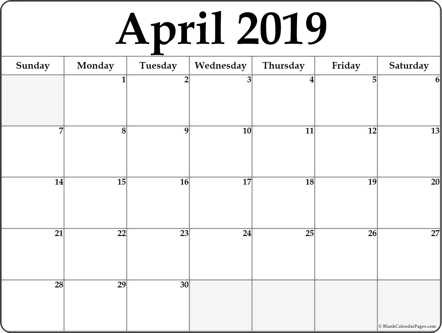 Blank April 2019 Calendar Landscape