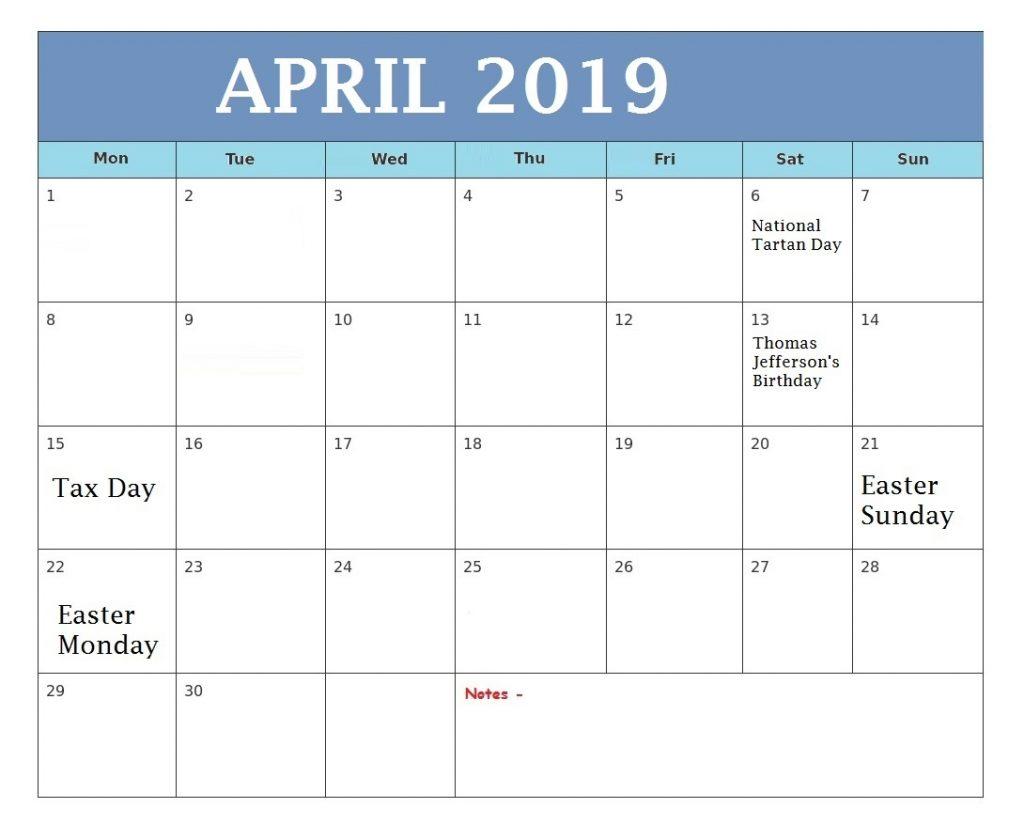 Blank April 2019 Desk Calendar