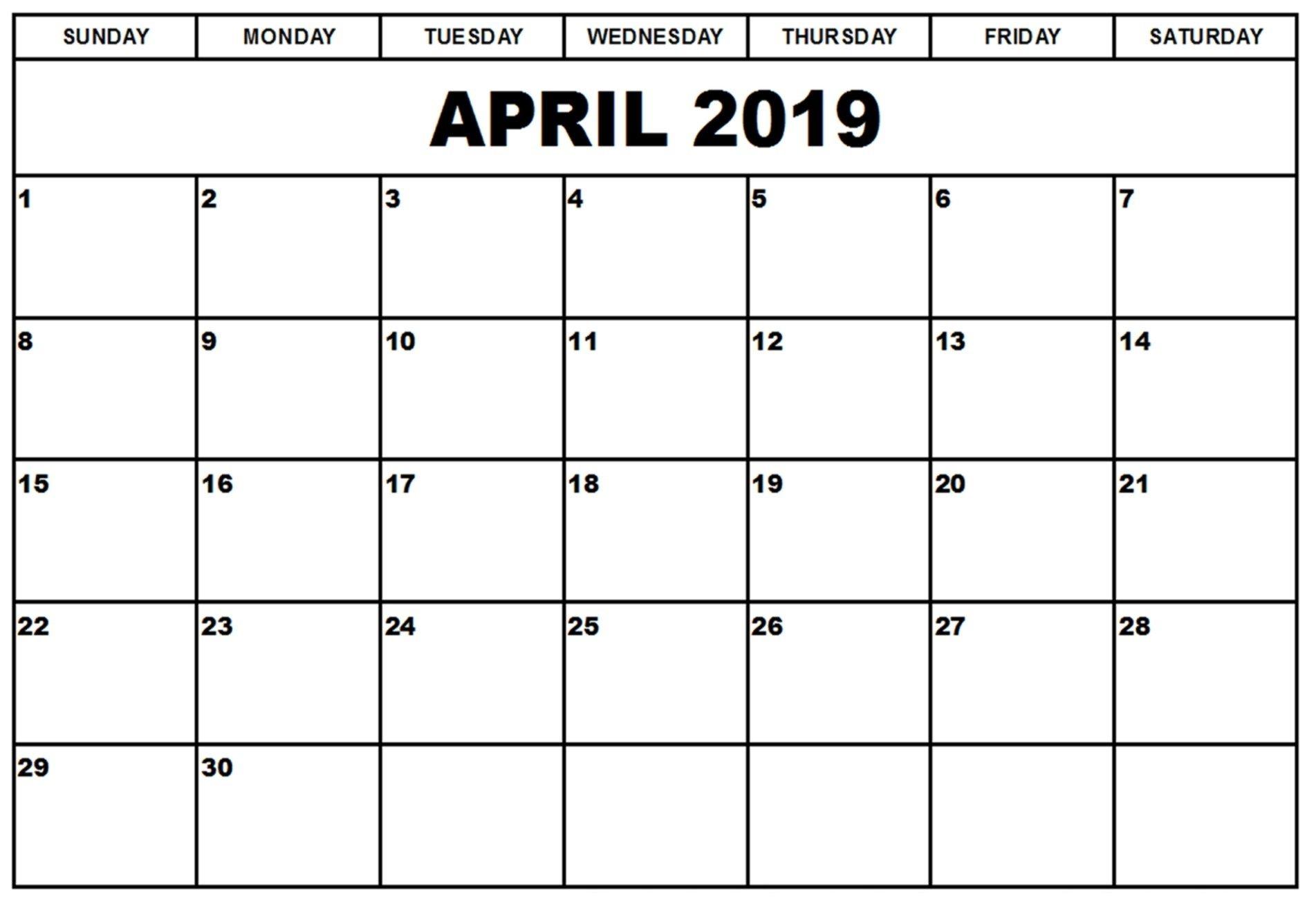 Calendar April 2019 Landscape