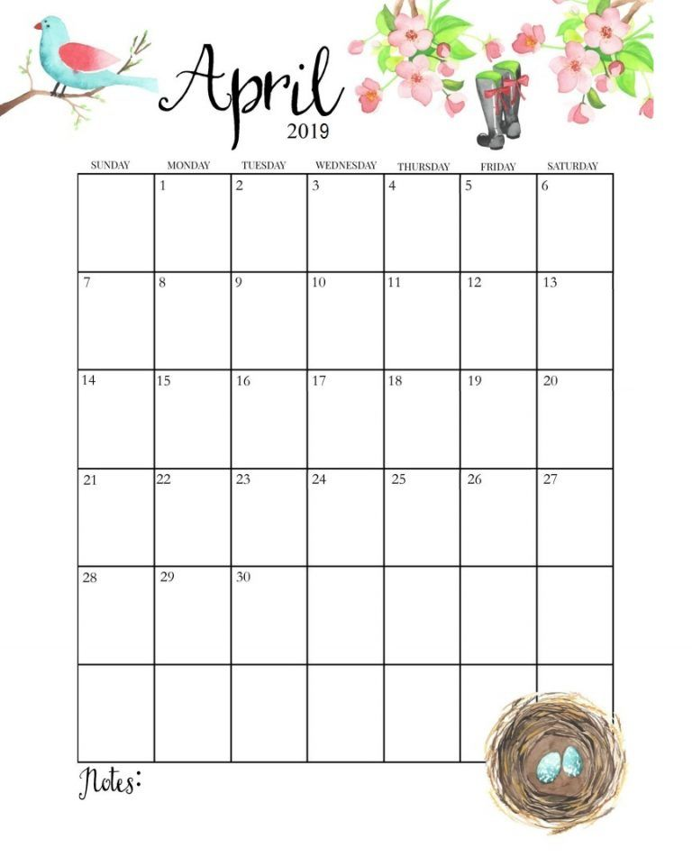 Cute April 2019 Calendar Vertical